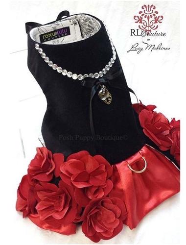 Couture Flamenco Rose Dog Harness Dress