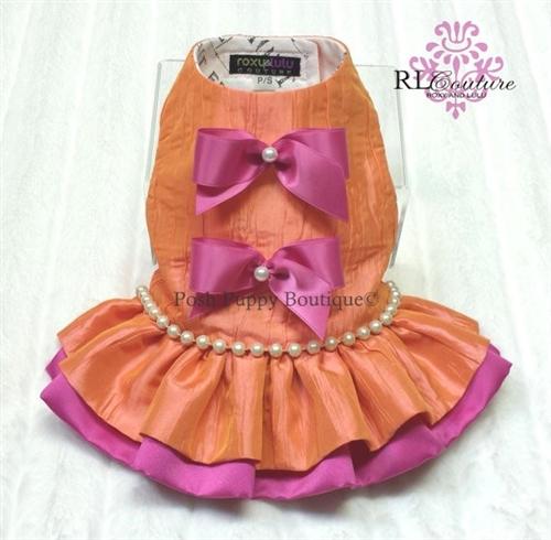 Couture Orange Sorbet Dog Harness Dress