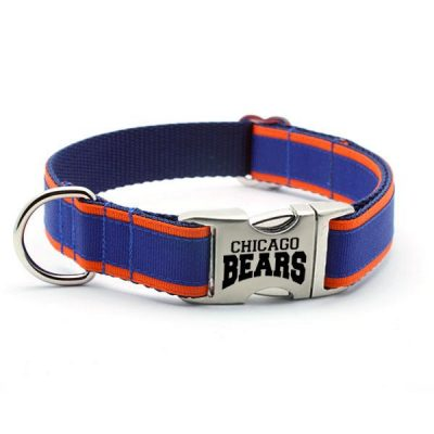 Chicago Bears Dog Collar with Laser Etched Aluminum Buckle