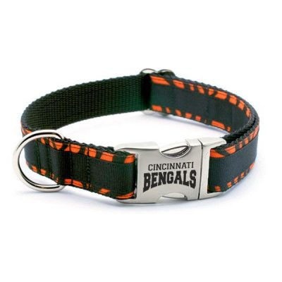 Cincinnati Bengals Dog Collar with Laser Etched Aluminum Buckle