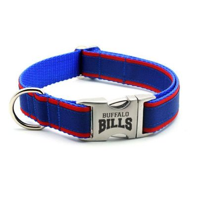 Buffalo Bills Dog Collar with Laser Etched Aluminum Buckle