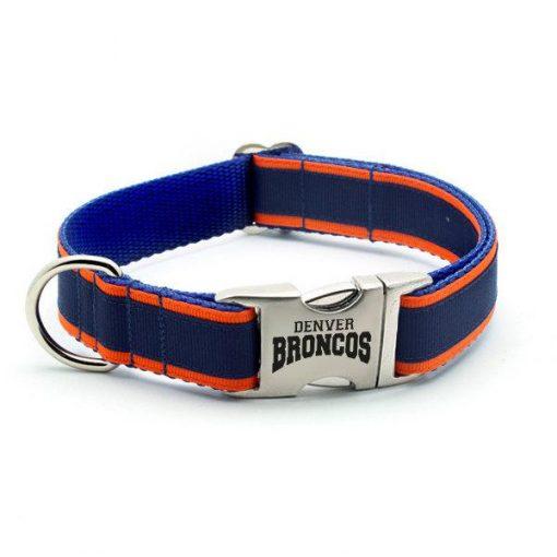 Denver Broncos Dog Collar with Laser Etched Aluminum Buckle