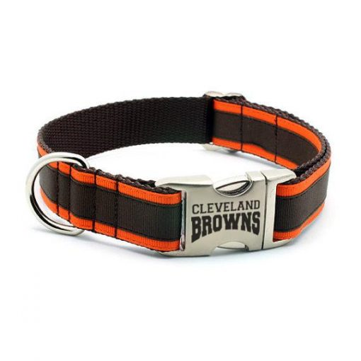 Cleveland Browns Dog Collar with Laser Etched Aluminum Buckle