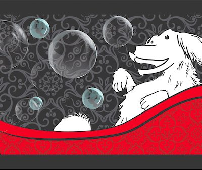 non-slipping bathtub or sink mat: happy dog design