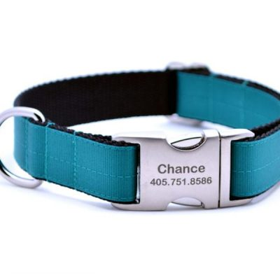 Ribbon & Webbing Dog Collar with Laser Engraved Personalized Buckle - TEAL