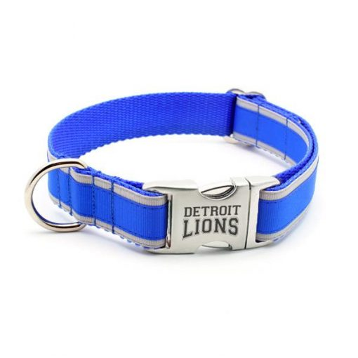 Detroit Lions Dog Collar with Laser Etched Aluminum Buckle