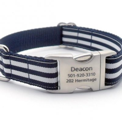 Cabana Stripe Dog Collar with Laser Engraved Personalized Buckle - NAVY