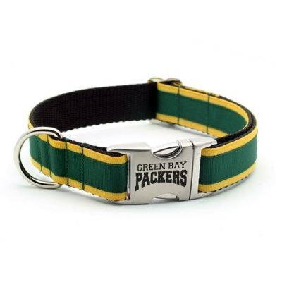 Green Bay Packers Dog Collar with Laser Etched Aluminum Buckle