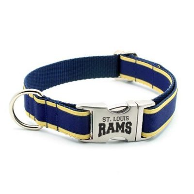 St. Louis Rams Dog Collar with Laser Etched Aluminum Buckle