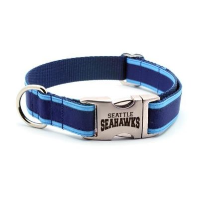Seattle Seahawks Dog Collar with Laser Etched Aluminum Buckle