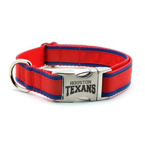 Houston Texans Dog Collar with Laser Etched Aluminum Buckle