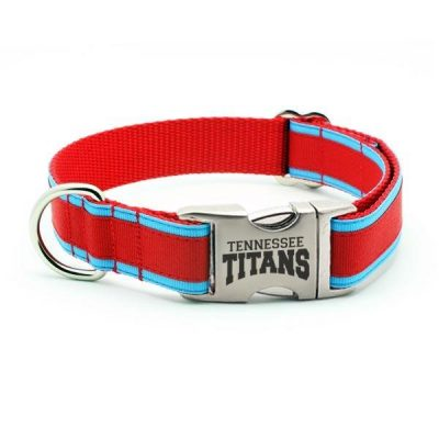 Tennessee Titans Dog Collar with Laser Etched Aluminum Buckle