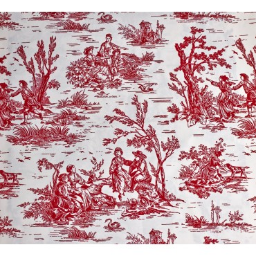 Fabric by the Yard Raspberry Toile