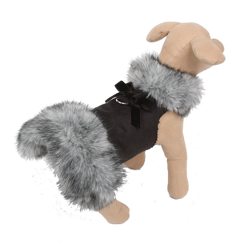 Fur Coat Velvet Bow Black Tip Silver Fox