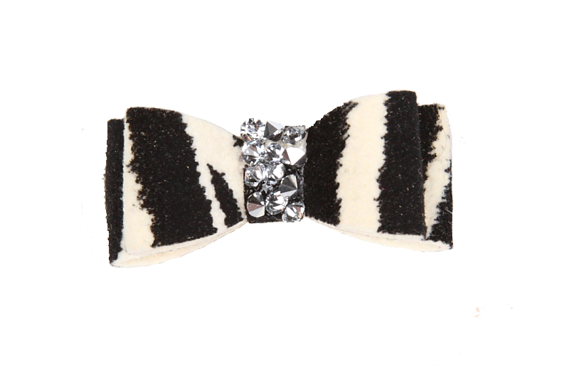 Zebra Crystal Rocks Hair Bow