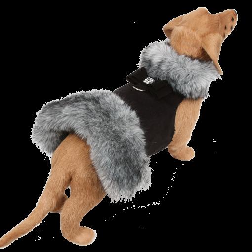 Black Tip Silver Fox Fur Coat with Big Bow