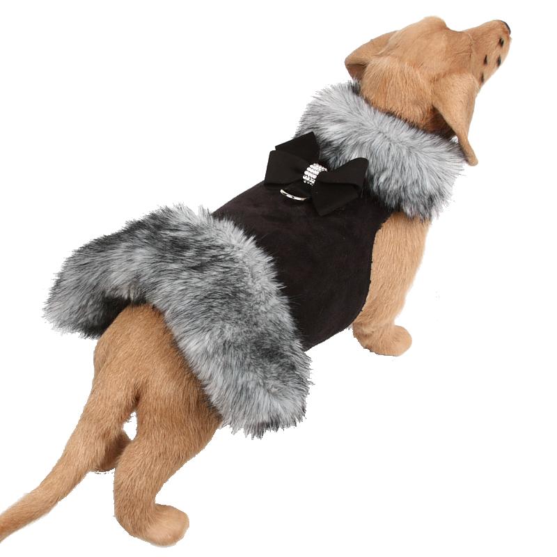 Black Tip Silver Fox Fur Coat with Nouveau Bow