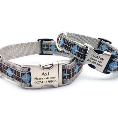Blue & Brown Diamonds Dog Collar with Personalized Buckle