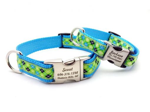Lime Green & Blue Argyle Dog Collar with Personalized Buckle