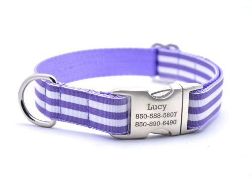 Cabana Stripe Dog Collar with Laser Engraved Personalized Buckle - LAVENDER