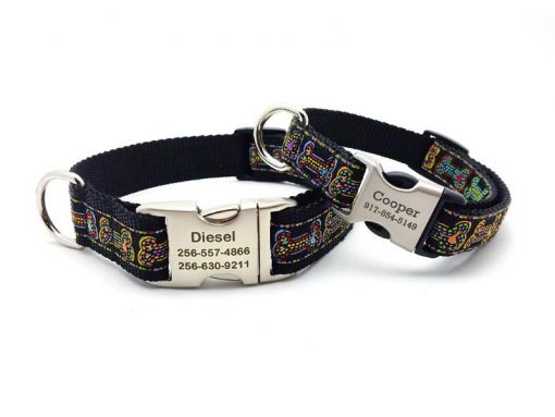 Stitched Bones Dog Collar with Personalized Buckle