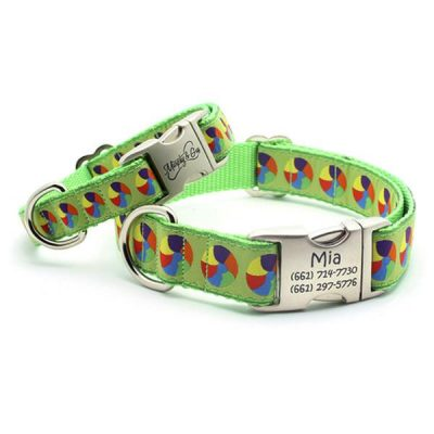 At The Beach Dog Collar with Personalized Buckle