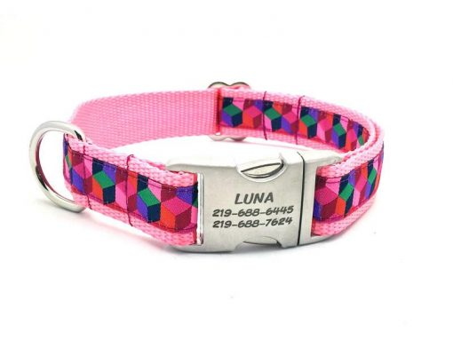3D BLOCKS Dog Collar with Laser Engraved Personalized Buckle - PINK
