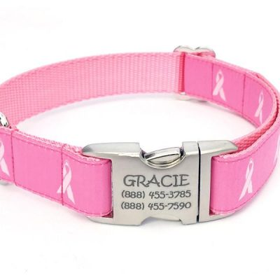 BREAST CANCER AWARENESS Dog Collar with Personalized Buckle