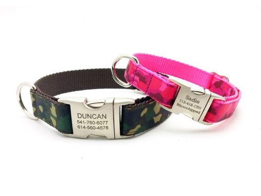 Camouflage Print Ribbon & Webbing Dog Collar with Laser Engraved Personalized Buckle