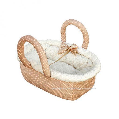 Caramel Peach Dotty Fluffy Bag Dog Carrier