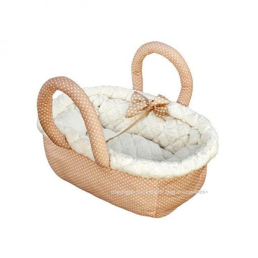 Caramel Peach Dotty Fluffy Bag Dog Carrier
