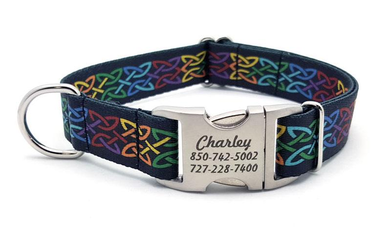 Celtic Pride Polyester Webbing Dog Collar with Laser Engraved Personalized Buckle