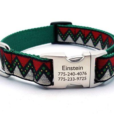 Christmas Zig Zag Dog Collar with Personalized Buckle