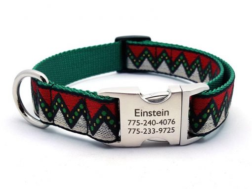 Christmas Zig Zag Dog Collar with Personalized Buckle