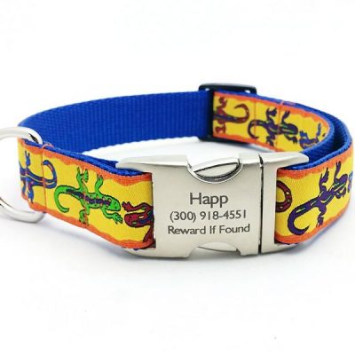 The GECKO Dog Collar with Personalized Buckle