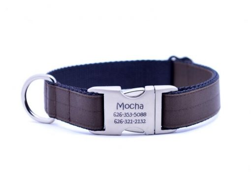 Ribbon & Webbing Dog Collar with Laser Engraved Personalized Buckle - CHOCOLATE