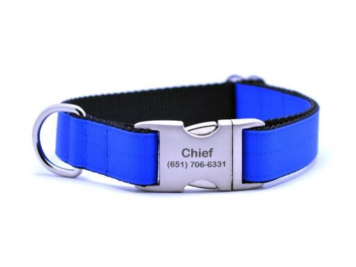 Ribbon & Webbing Dog Collar with Laser Engraved Personalized Buckle - ELECTRIC BLUE