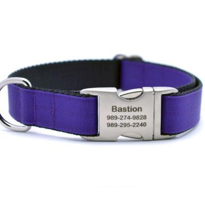 Ribbon & Webbing Dog Collar with Laser Engraved Personalized Buckle - PURPLE