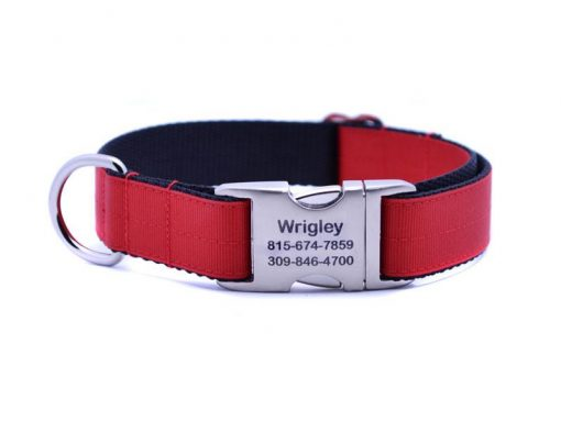 Ribbon & Webbing Dog Collar with Laser Engraved Personalized Buckle - CRIMSON RED