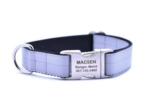 Ribbon & Webbing Dog Collar with Laser Engraved Personalized Buckle - MILLENIUM SILVER