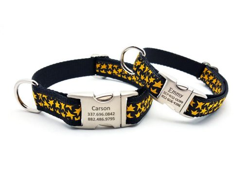 Super Stars Dog Collar with Personalized Buckle