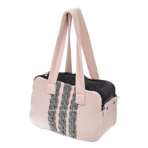 Grey And Pink Zipper Dog Carrier