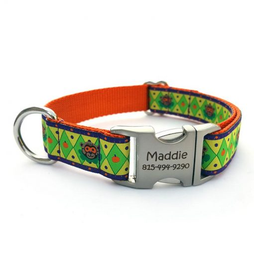 Halloween Bear Dog Collar with Personalized Buckle