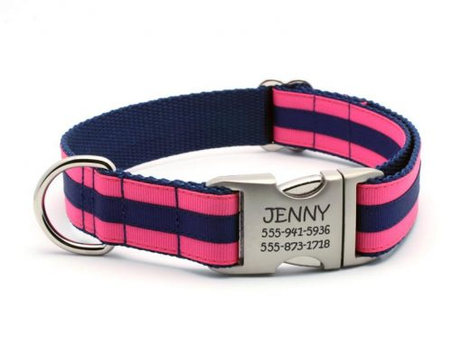 Layered Stripe Dog Collar with Laser Engraved Personalized Buckle - HOT PINK/NAVY