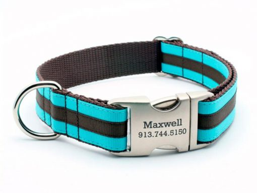 Layered Stripe Dog Collar with Laser Engraved Personalized Buckle - TURQUOISE/CHOCOLATE