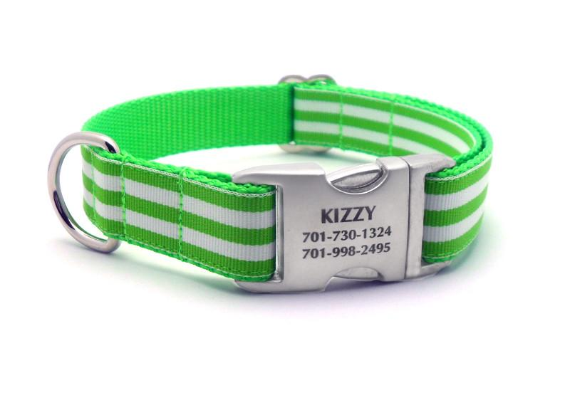 Cabana Stripe Dog Collar with Laser Engraved Personalized Buckle - LIME