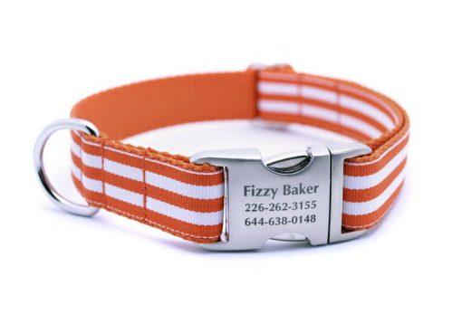 Cabana Stripe Dog Collar with Laser Engraved Personalized Buckle - ORANGE