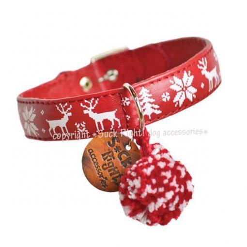 Pinewood And Reindeer Dog Collar Red