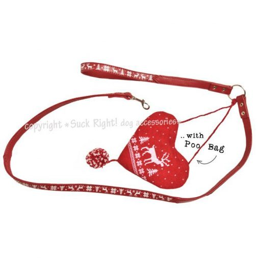 Pinewood And Reindeer Dog Leash Red