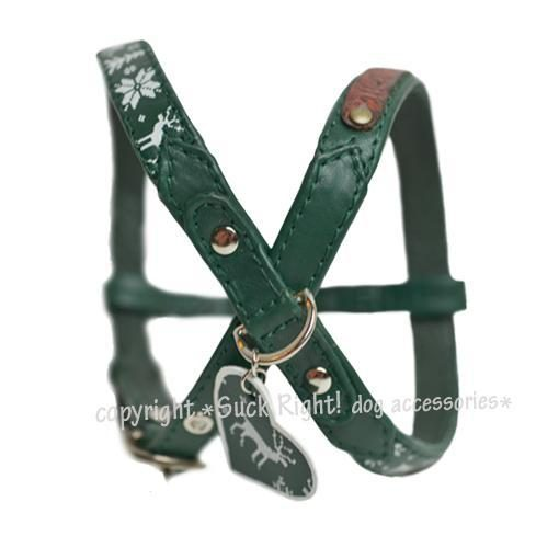 Pinewood And Reindeer Sliding Dog Harness Green
